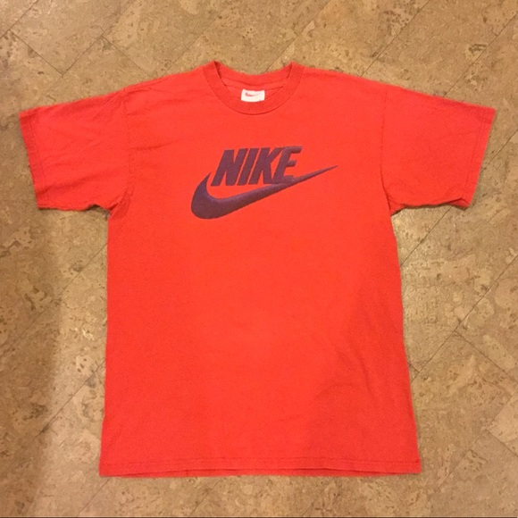 b8d19396 Nike Shirts | Vintage T Shirt Red Medium 90s Swoosh Logo | Poshmark